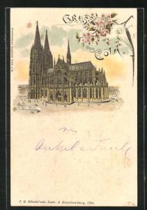 Lithographie Köln, Ansicht vom Dom