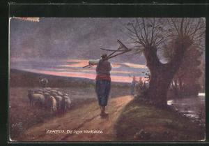 AK Armenia, The Days Work done, Schafhirte und Bauern