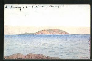 Künstler-AK Sewansee, Lac et l`Ile de Sévan