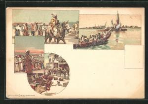 Lithographie Eritrea, Entladen einer Karawane, Einheimische im Boot