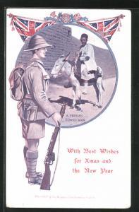 AK Iran, A Persian Donkey Man, Britischer Soldat in Uniform