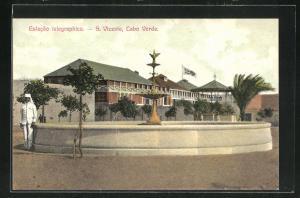 AK S. Vicente, Estacao telegraphica, Teilansicht mit Telegrafenamt
