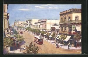 AK Montevideo, Calle del 18 de Julio, Strassenbahn