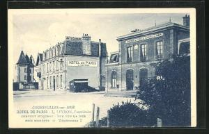 AK Courseulles-sur-Mer, Hotel de Paris, Bahnhof