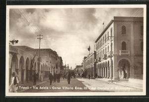 AK Tripoli, Via Azizia, Corso Vittorio Ema. III, dal Castello al Municipale