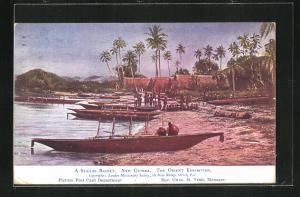Künstler-AK New Guinea, a seaside Resort, Fischerboote am Ufer