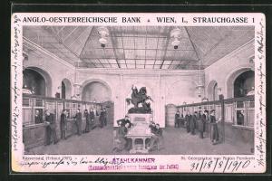 Künstler-AK Wien, Anglo-Öserreichische Bank, Kassensaal mit St. Georgenstatue von Anton Fernkorn, Strauchgasse 1