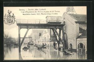 AK Seraing, Cour d`Exposition des Ateliers et grues de 60 Tonnes, Inondation Janvier 1920