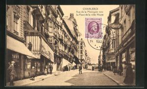 AK Charleroi, Rue de la Montagne vers la Place de la ville Haute