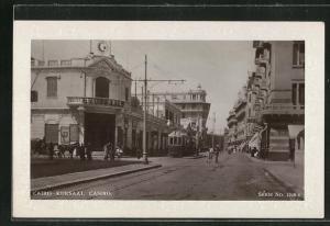 Passepartout-AK Cairo, Blick auf das Kursaal-Casino, Strassenbahn