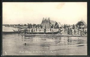 AK Irak, Arab Village on the Bank of the Tigris