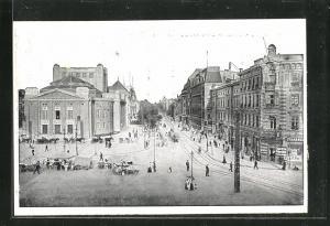 AK Kattowitz, Friedrichstrasse mit Stadttheater