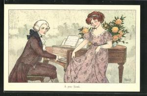 Künstler-AK Florence Hardy: Mann spielt auf dem Piano für die Dame seines Herzens