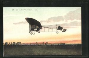 AK Flugzeug Blériot Aeroplane startet im Abendrot