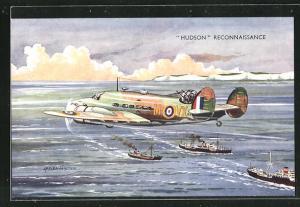 AK Flugzeug Hudson Reconnaissance eskortiert einen Schiffskonvoi
