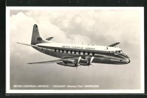 AK Viscount Discovery Class Aeroplane, British European Airways, Flugzeug über den Wolken