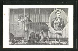 AK Zirkus, Löwe hinter Gittern, Bildnis des Dompteurs Alphonzo, The Intrepid Lion Tamer