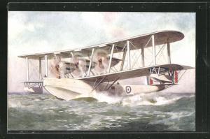 AK Wasserflugzeug startet in unruhiger See