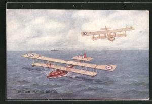 AK British Flying Boats, Wasserflugzeuge landen auf dem Meer