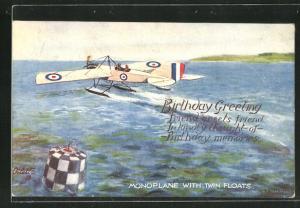 AK Monoplane with Twin Floats, Wasserflugzeug beim Start, Birthday Greeting
