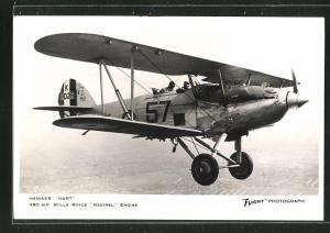 AK Flugzeug Hawker Hart in luftigen Höhen