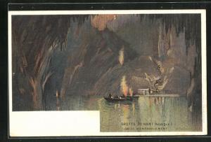Künstler-AK Henri Cassiers: Grotte de Han (Belgique) Salle d`Embarqument