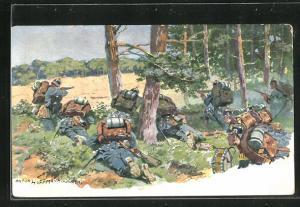 Künstler-AK Anton Hoffmann - München: Deutsche Infanterie im Gefecht am Waldrand
