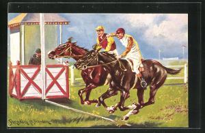 Künstler-AK Ermenegildo Carlo Donadini: Jockeys liefern sich ein Duell bis ins Ziel