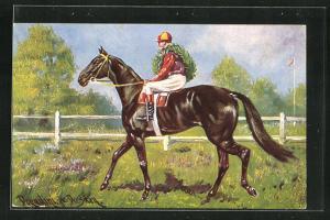 Künstler-AK Ermenegildo Carlo Donadini: Sieger des Pferderennens mit Ehrenkranz