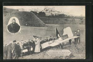 AK M. Louis Bleriot flies by Aeroplane from Calais to Dover