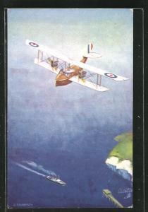 Künstler-AK G. T. Clarkson: In the Air - Two-engined Bat-boat, Wasserflugzeug