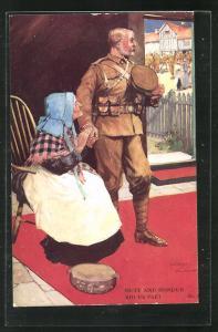 Künstler-AK Lawson Wood: Duty and Honour bid us part, Soldatenabschied
