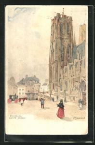 Künstler-Lithographie Henri Cassiers: Bruxelles / Brüssel, Sainte Gudule