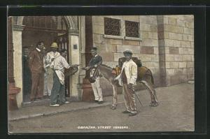 Künstler-AK Gibraltar, Street Vendors, Anwohner mit Esel vor einer Haustür