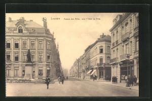 AK Louvain, Avenue des Allees, vers l'Hotel de Ville