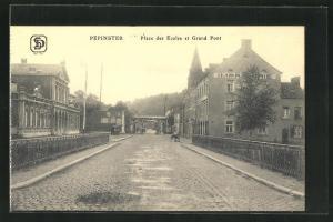AK Pepinster, Place des Ecoles et Grand Pont