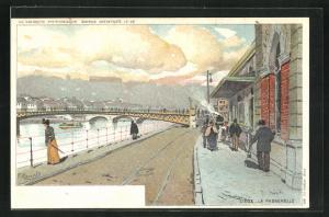 Künstler-AK Liege, La Passerelle, Passanten am der Flussuferpromenade