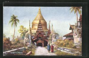 Künstler-AK Pagan, Shwegeena Pagoda