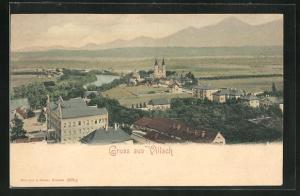 Künstler-AK Villach, Panoramablick vom Berg