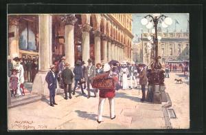 Künstler-AK Sydney, General Post Office, Strassenansicht mit Passanten