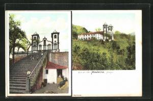 Künstler-AK Monte, Kirche und Treppengang