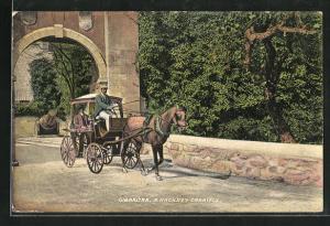 Künstler-AK Gibraltar, a Hackney Carriage, Pferdekutsche