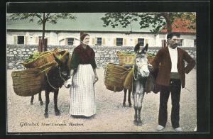 Künstler-AK Gibraltar, Street Costumes, Hawkers