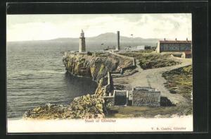 Künstler-AK Gibraltar, Panorama mit Leuchtturm