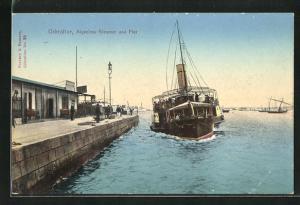 Künstler-AK Gibraltar, Algeciras Steamer and Pier