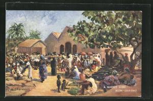 Künstler-AK Accra, a market scene at the Gold Coast