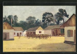Künstler-AK Ghana, Kibbi Trade school, boys on parade, Gold coast