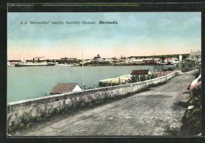 AK Hamilton, S. S. Bermudian leaving Hamilton Harbour