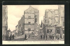 AK Louvain Fire of Louvain 1914