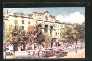 AK Barcelona, Strassenbahn am Teatro Principale